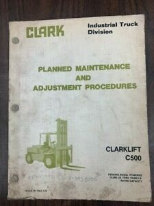 Clark Pma 539 C500 Y1015 Forklift Service Maintenance Manual