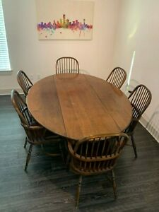 Antique Dining Set With Drop Leaf Table And Sack Back Windsor Chairs