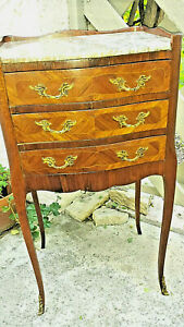 French Nightstand Inlayed Serpentine Rosewood Marble Top With Bronze Mounts