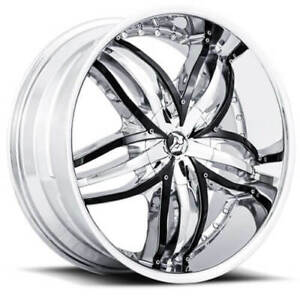 4 20 Diablo Wheels Angel Chrome With Black Insert Rims And Tires Package