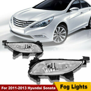 For 2011 2012 2013 Hyundai Sonata Clear Front Halogen Fog Lights Lamps Rh Lh