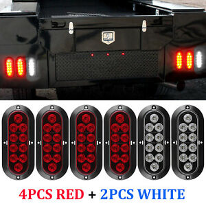 6 10led Oval Stop Turn Tail Backup Reverse Truck Trailer Lights 4 Red 2 White