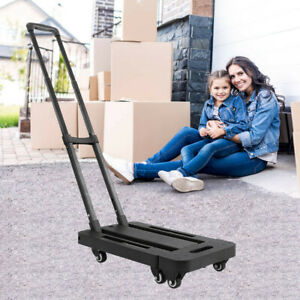 440lb Folding Hand Truck Dolly Collapsible Cart Luggage Trolley With 6 Wheels Us