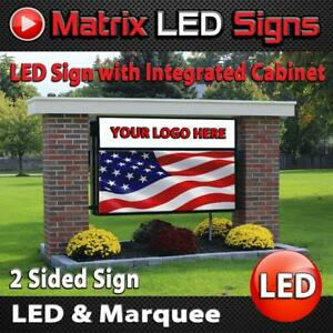 Led Sign Outdoor Full Color Integrated Lighted Cabinet On Top 2 Sided Programm