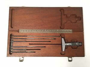 Brown Sharpe No 604 Depth Gage Micrometer Set W Case Usa