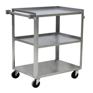 Stainless Steel Utility Cart 500 Lbs Capacity 3 Shelves 31 x19 x34 1 8