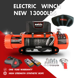 X bull Electric Winch 13000lbs 12v Synthetic Rope Ip67 Towing Truck Trailer 4wd