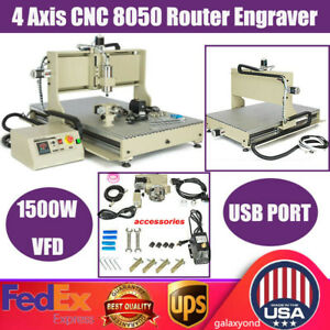Usb 4 Axis Cnc 8050 Router Engraver Engraving Milling Machine Woodworking Cutter