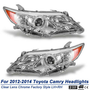 For 2012 2014 Toyota Camry Chrome Factory Style Projector Headlights Replacement