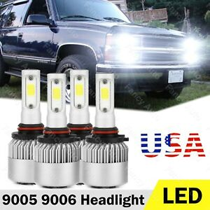 For Chevy C k Pickup Silverado Suburban Tahoe 1994 1998 Led Headlight Bulb White
