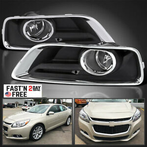 For 2013 2015 Chevy Malibu Clear Fog Lights Bumper Driving Lamps W Switch Bezel