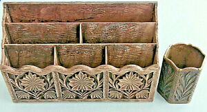 Rare Set 2 Vintage Lerner Faux Wood Desk Top Organizer Pen pencil Cup Holders