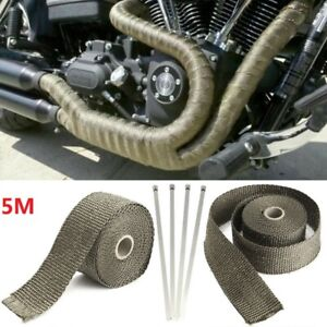 5m Titanium Manifold Exhaust Wrap Header Pipe Heat Insulation Tape Roll For Car