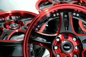 15 Wheels Rims Candy Red Black 4 Lugs Fit Honda Civic Cooper Spectra Tiburon