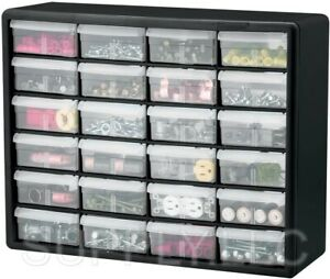 Garage Storage Parts Cabinet 24 Drawer Bins Nuts Bolts Workshop Office Organizer