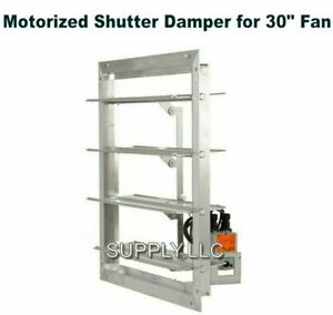 30 Fan Motorized Shutter Damper Flanged Frame Powered Louver Exhaust Intake