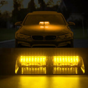 Car Windshield Led Strobe Lights Flashing Dash Emergency 16led Amber Warning 12v