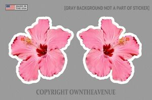 Hawaiian Hibiscus Flower Sticker Car Window Truck Vinyl Decal 3 5 2 Pack Ltpink