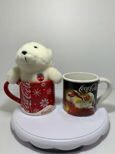 Coca Cola Mugs Holiday Set.White Coca Cola Bear.Santa Snow Flakes Red And White