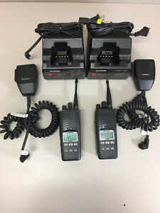Lot Of 2 Harris P7300 Hand Held Radio W Charger Battery Antenna