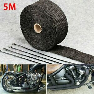Roll 5m Exhaust Manifolds Titanium Heat Wrap Tape Thermal Wrap Black 4 Ties