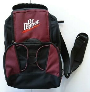 DR PEPPER Back Pack Shoulder Tote Bag Insulated Canvas Maroon Cooler Picnic NEW