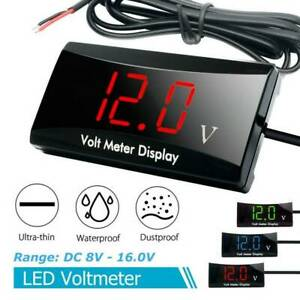 Led Electronic Digital Time Clock Thermometer Voltmeter For 12v Car Motorcycle