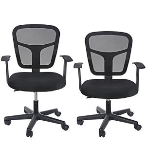 2x Ergonomic Mid Back Mesh Adjustable Drafting Chair With Foot Standing Desk