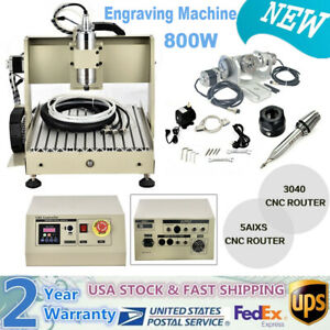 800w Cnc 3040 Router 5 Axis Engraverg Machine Mill Wood Metal Work Carver Cutter