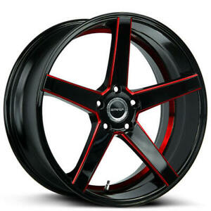 4 20 Strada Wheels Perfetto Gloss Black Candy Red Milled Rims
