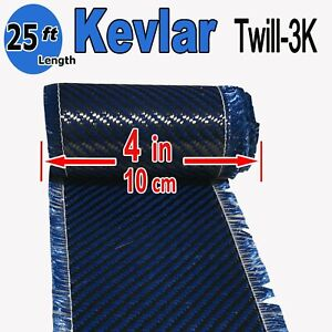 4 In X 25 Ft Made With Kevlar carbon Fiber Aramid Fabric 3k 2k 200g Blue