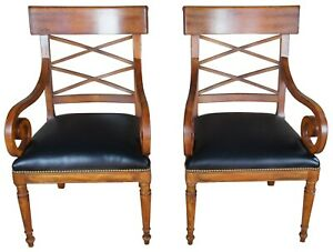 Baker Furniture Milling Road Walnut Directoire Chairs Leather Seat Scroll Arms