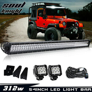 For Jeep Grand Cherokee Wk 54 Led Light Bar 2xwork Lamps Free Wiring Combo Kit