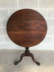 Antique Solid Mahogany Chippendale Style Tilt Top Table