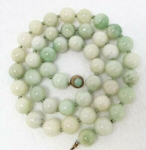 Antique Chinese Jade 13mm Bead 800 Silver 25 Necklace 128 1g
