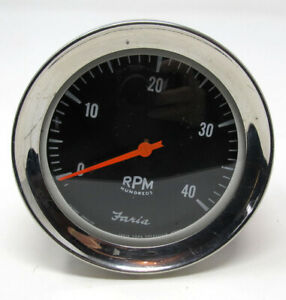 Vintage 1960s Faria Chrome Tachometer 4000 Rpm With Domed Glass