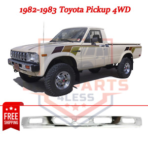 New Front Bumper Chrome Steel For 1982 83 Toyota Pickup 4wd