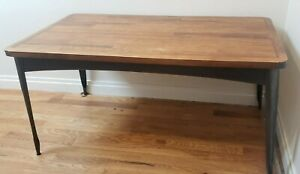 Wooden Mid Century Modern Dining Room Table With Metal Legs And Accents