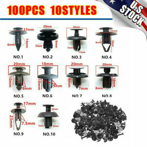 100x Car Body Plastic Push Pin Rivet Fasteners Trim Clips For Ford Chevy Toyota