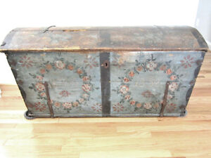 Antique 1832 Dome Top Hand Painted 19th Century Travel Trunk Heirloom Piece