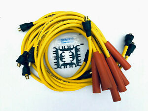 1955 74 Sb Chevy 327 350 V8 Yellow Spark Plug Wires Points Cap