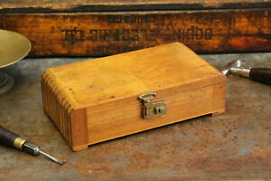 Antique Art Deco Vintage Industrial Wood Box Finger Jointed Brass Cigar Jewelry
