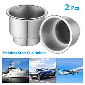 2 X Cup Drink Holder Insert Stainless Steel For Boat Car Marine Truck Rv Camper