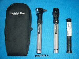Welch Allyn 92821 aa Handle Pocketscope Otoscope Ophthalmoscope Diagnostic Set