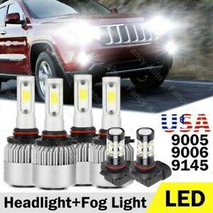 9005 9006 Led Headlight 9145 Fog Light Bulbs For Jeep Grand Cherokee 2005 2010
