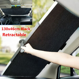 Car Retractable Curtain Uv Protection Front Windshield Sun Visor Accessories New