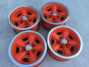 1970 Dated Chevy Camaro Z28 Ss Chevelle Rally Wheels Restored Set Of 4 W Rings