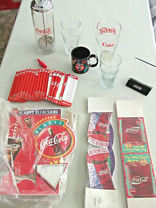 AS IS Lot of 11 COCA COLA Table Tents DISPLAY Menu Clips GLASSES Keychain