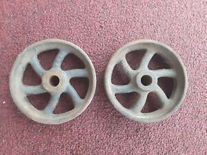 Vintage Industrial Set 2 Metal Cast Iron Wheels 5 Diameter Steampunk Cart