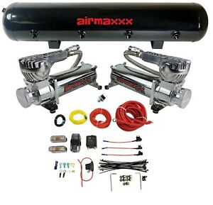 Airmaxxx Chrome Dual Compressor Wire Kit 5 Gallon Steel 9 Port Tank Air Ride